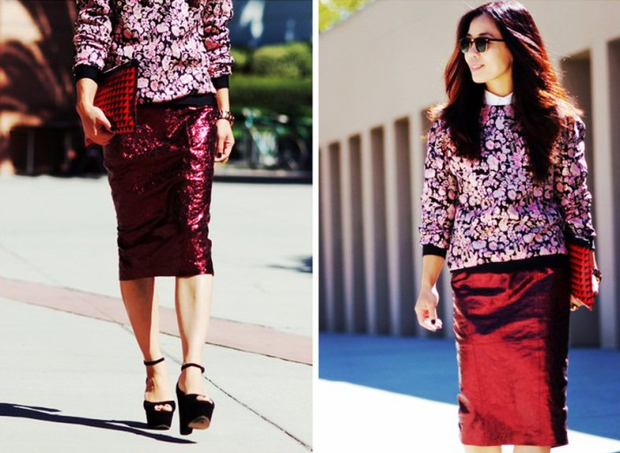 blog_HallieSwanson-MSGM-Floral-Sweatshirt-ASOS-Metallic-Skirt-Celine-Sandals-PS-Clutch_10