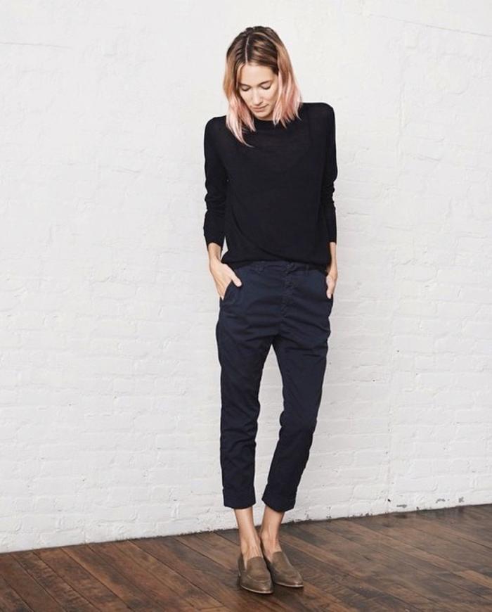 blog_Le-Fashion-Blog-Caroline-Ventura-Pink-Ombre-Hair-Bob-Everlane-Black-Knit-Navy-Pants-Olive-Modern-Loafer