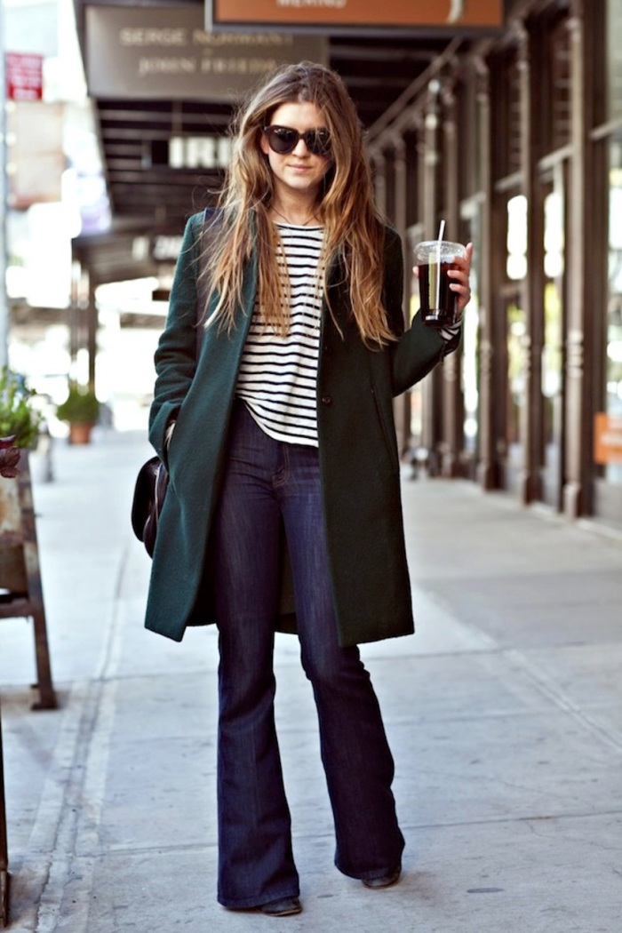 blog_Le-Fashion-Blog-Laura-On-The-Racks-Long-Wavy-Hair-Karen-Walker-Sunglasses-Striped-Tee-Forest-Green-Coat-Flared-Jeans-Denim