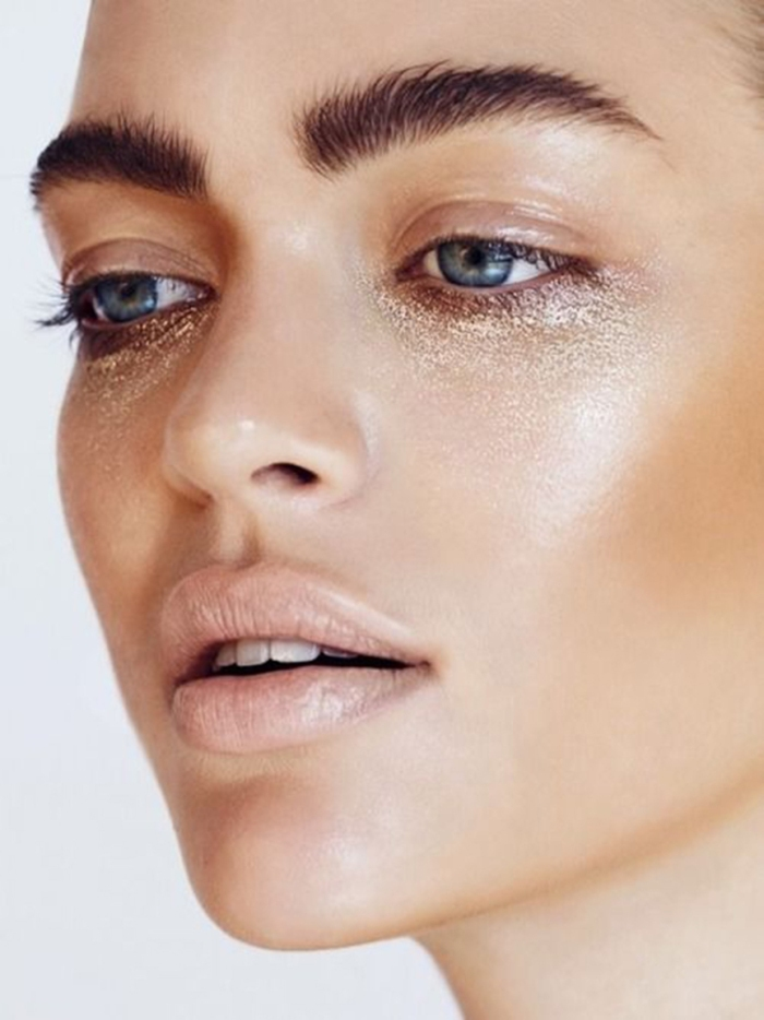 blog_Shanina Shaik, beauty look, metallic under eyes, bushy eyebrows