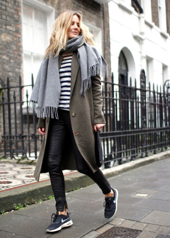 blog_Le-Fashion-Blog-7-Ways-To-Wear-Stripes-In-Winter-Grey-Scarf-Striped-Knit-Coat-Leather-Pants-Nike-Sneakers-Lucy-Williams-Fashion-Me-Now