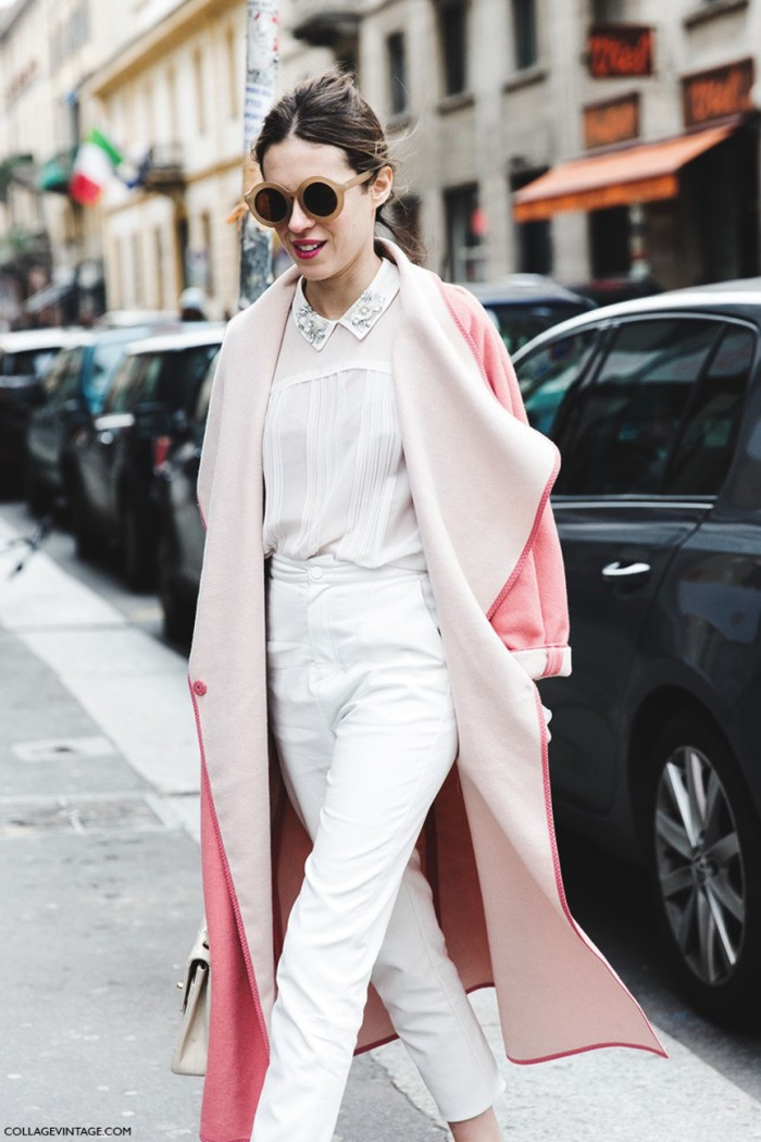 blog_Milan_Fashion_Week-Fall_Winter_2015-Street_Style-MFW-Dans_Vogue-Pink_Coat-Ballerinas-1-790x1185