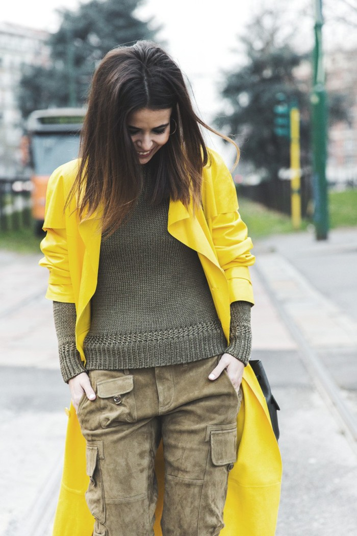 blog_Ralph_Lauren_Spring_Summer_2015-Yellow_Leather_Trench-Suede_Cargo-trousers-Khaki-Outfit-MFW-Milan_Fashion_Week-Collage_Vintage-Street_Style-21-790x1185