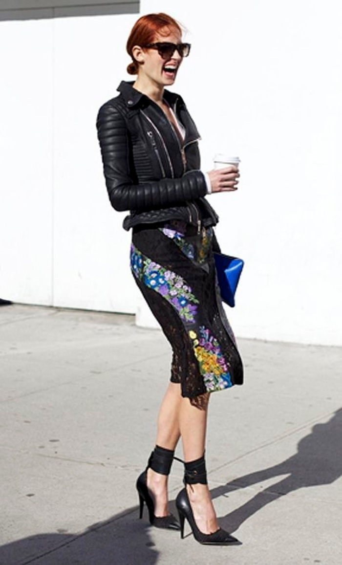 blog_15-Ways-To-Wear-Floral-Prints-Taylor-Tomasi-Hill-Street-Style-Leather-Jacket-Skirt-Ankle-Strap-Heels-Harpers-Bazaar-Au