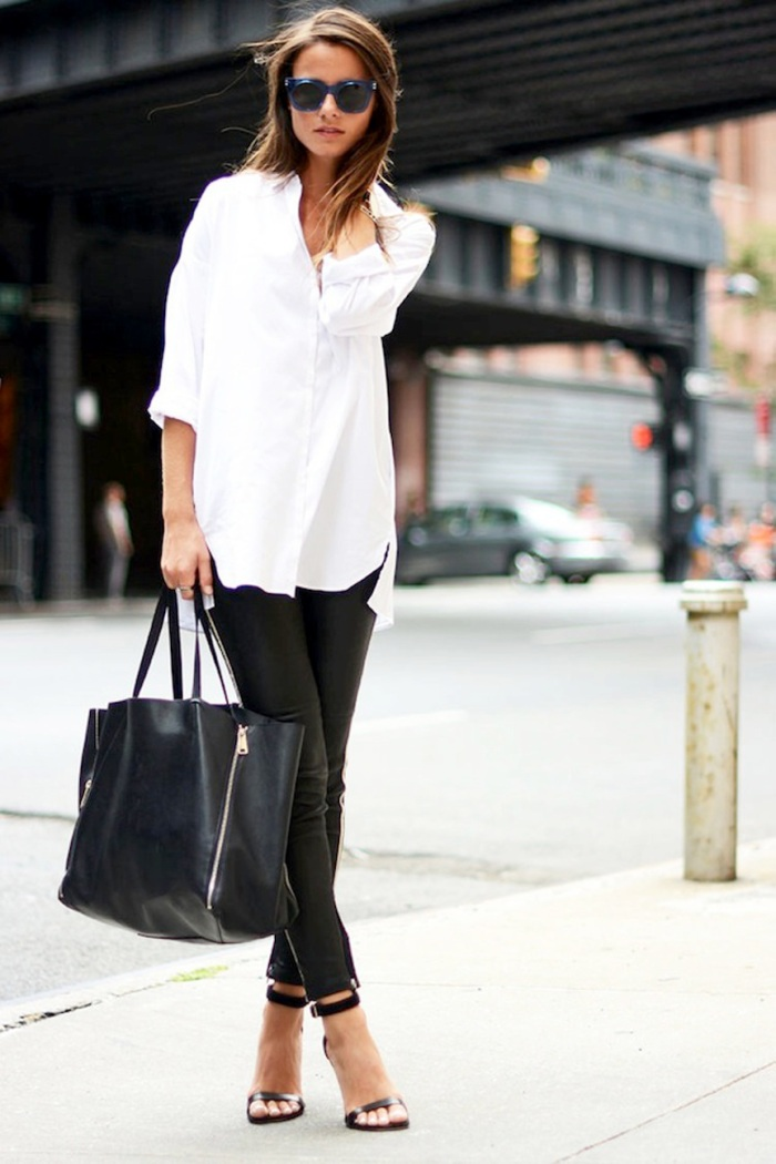 blog_Le-Fashion-Blog-Casual-Chic-Black-And-White-Look-Blue-Sunglasses-Oversized-Button-Down-Shirt-Leather-Pants-Tote-Sandals-Via-Fashion-Vibe