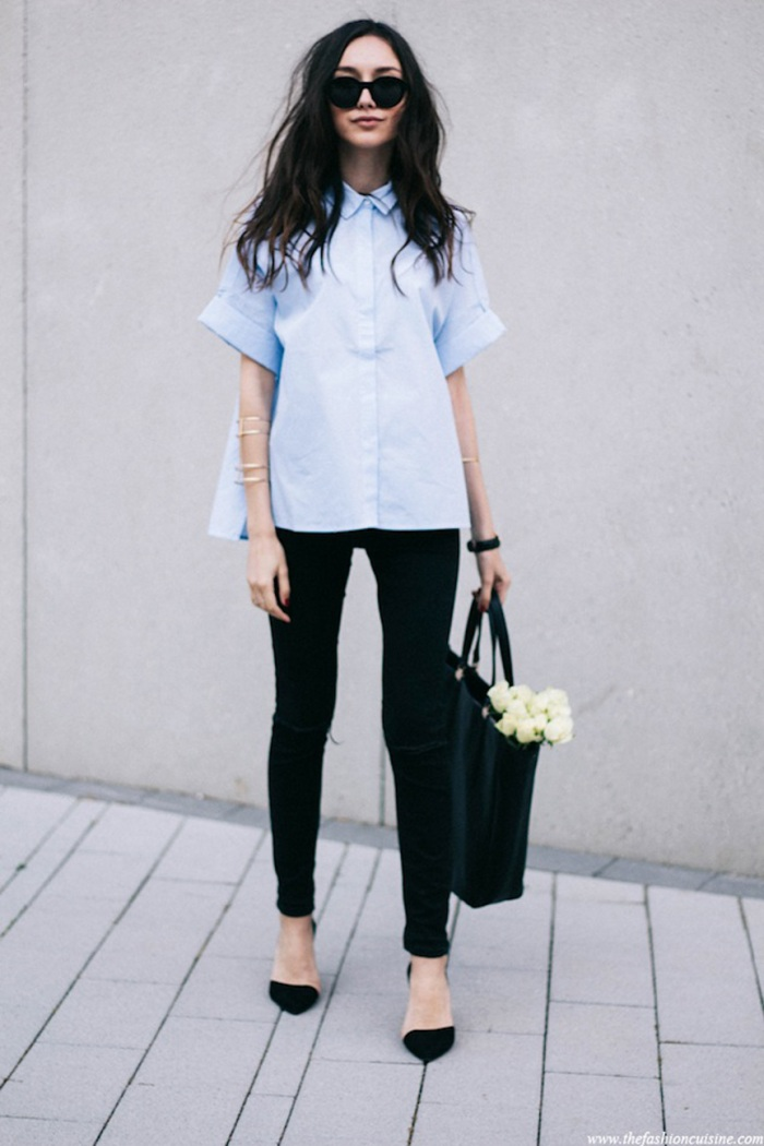 blog_Le-Fashion-Blog-Polished-Boxy-Short-Sleeve-Poplin-Blue-Button-Down-Shirt-Black-Skinny-Jeans-Dorsay-Heels-Via-The-Fashion-Cuisine