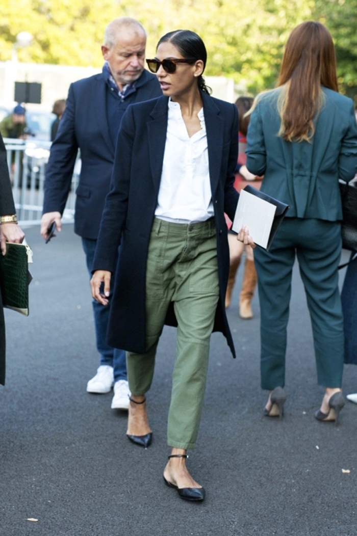 blog_Le-Fashion-Blog-Classic-Street-Style-Round-Sunglasses-Long-Coat-Green-Utility-Pants-Gianvito-Rossi-Flats-Via-Vogue-Australia